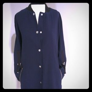 New York and Co. Long black and blue jacket